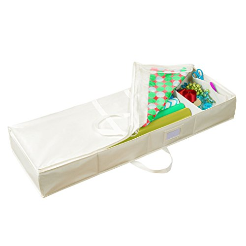 HomeCrate Underbed Wrapping Paper and Bow Organizer Accessories Compartments, Beige