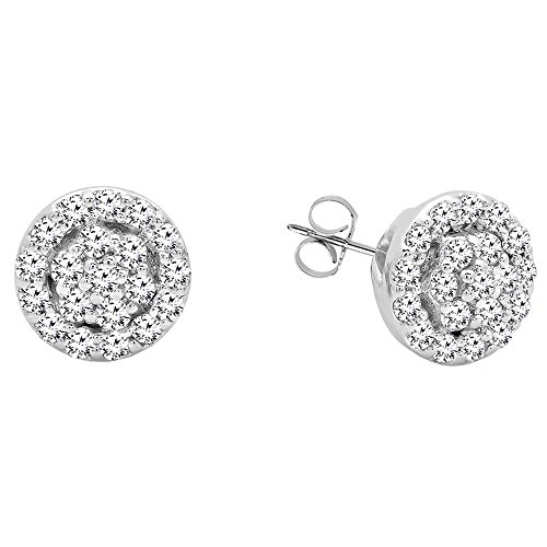 0.25 Carat (ctw) 10K White Gold Round White Diamond Ladies Circle Cluster Stud Earrings (Diamond White Gold Circle Earrings)