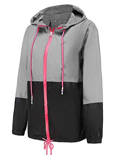 LOMON Womens' Waterproof Lightweight Raincoat Hooded Outdoor Hiking Packable Rain Jacket Travel Trench Black M