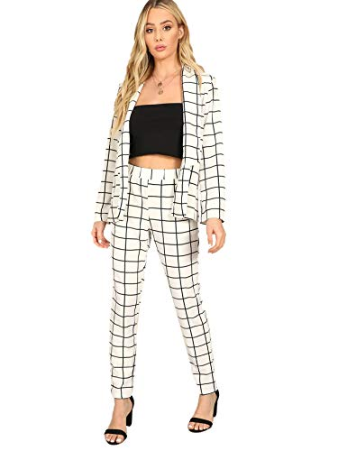 (SheIn Women's Two Piece Plaid Open Front Long Sleeve Blazer and Elastic Waist Pant Set Suit Large White)