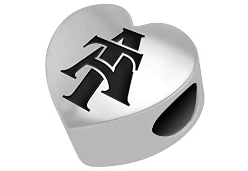 - North Carolina A&t Aggies Sterling Silver Heart Bead Fits Most European Style Charm Bracelets