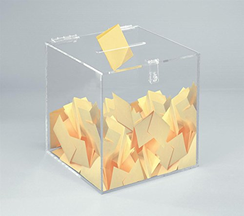 12-inch Clear Acrylic Ballot Box Cube with Hinged Lid, for Countertop Use