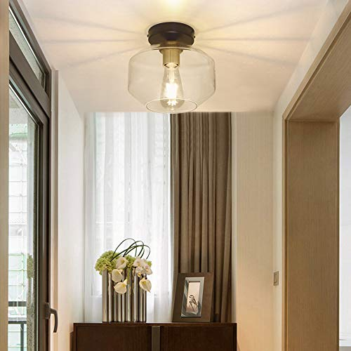 DLLT Farmhouse Semi Flush Mount Ceiling Light, Classic Glass Pendant Ceiling Light Fixture-Transparent Shade Lighting for Hallway, Entryway, Passway, Dining Room, Bedroom, Corridor, Foyer, E26 Base