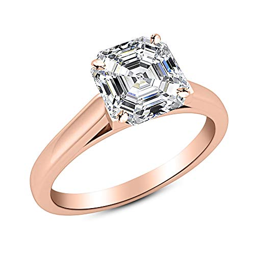 2 Ct Asscher Cut Cathedral Solitaire Diamond Engagement Ring 14K Rose Gold (G Color VS1 Clarity) Asscher Cut Solitaire Diamond
