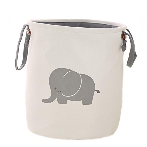 Collapsible Laundry Basket, Dirty Cloth Drawstring Storage Bin Toy Collection Organizer with Two Handles for Nursery Kid's Room - Elephant by Amposei