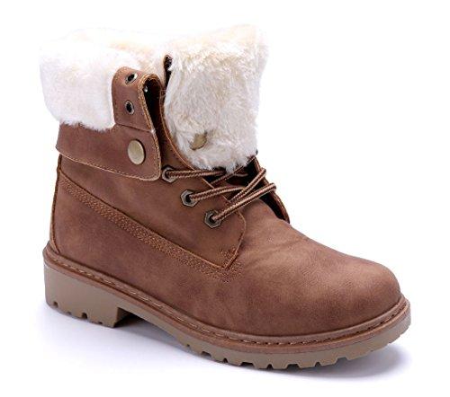 Schuhtempel24 Damen Schuhe Boots Stiefel Stiefeletten Blockabsatz 4 cm Camel cb2a50fb4b