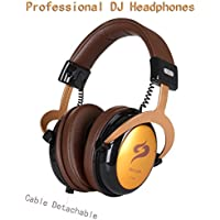 Professional Monitor Headphones DJ, Over Ear Stereo Headset Handsfree Earphones Microphone, for Studio Radio Station Intercoms Mobile Phones 3.5mm 6.3mm, Pure Clarity w/o Distortion Detachable - Gold