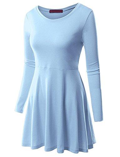 MRstriver Round Neck Flared Skater Tunic Dress For Women With Plus Size Cwdtd06_skyblue4X
