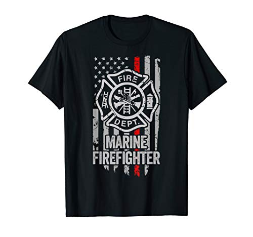 American Flag Fire fighter Red Thin Line Marine Firefighter T-Shirt