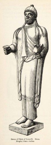 Cyprus Costumes (1878 Wood Engraving Cyprus Statue Priest Venus Artifact Sculpture Costume Tunic - Original In-Text Wood Engraving)