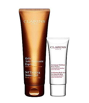 Clarins Bronze To-go Kit Self Tanning Instant Gel 4.5 Oz Exfoliating Body Scrub for Smooth Skin