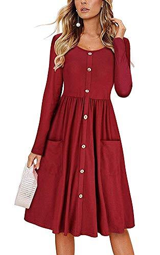 (ECHOINE Retro Burgendy Red Long Sleeve Buttons Down Plain Midi Dress)