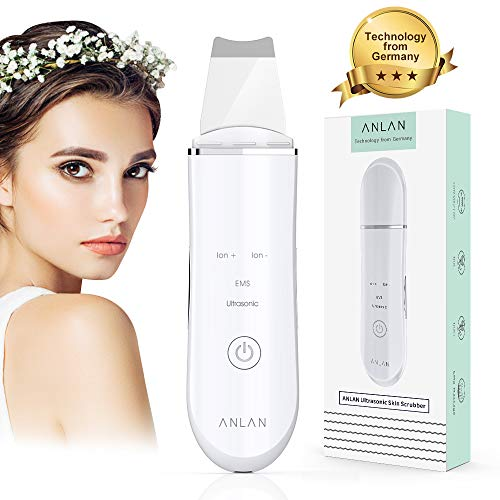 ANLAN Skin Face Scrubber Electric Skin Care Tools Blackhead Remover Pore Cleaner Comedone Extractor Ultrasonic EMS Face Spatula Scraper for Facial Cleansing Wrinkle Dead Skin Remover Facial Scrubber