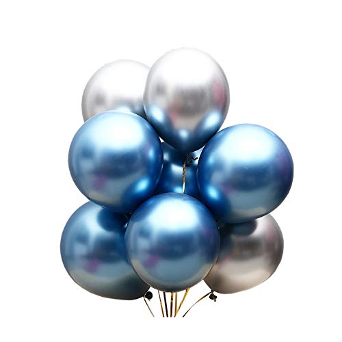 Juland 50 PCS Metallic Party Balloons Glossy Metal Pearl Latex Balloons 12'' Thick Pearly Chrome Alloy Inflatable Air Balloons for Birthdays, Bridal Shower - Blue and Silver