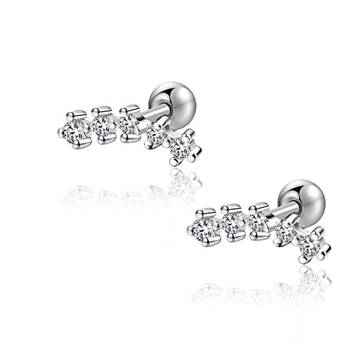 18g Stainless Steel 5 stone cubic zirconia Cartilage Piercing Earrings Inner Conch Stud Sleeper Earrings 2Pieces(White)