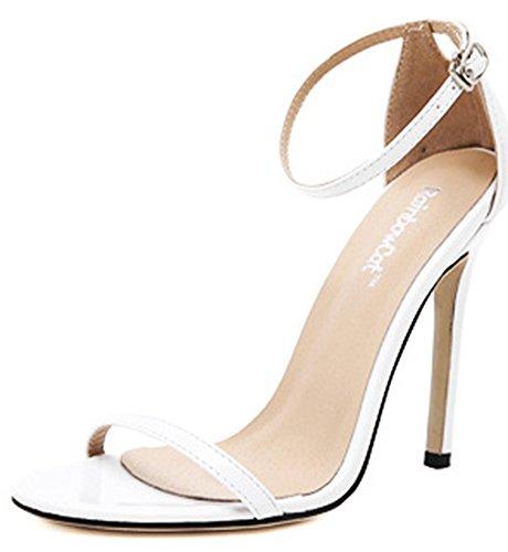 Chfso Mujeres Classic Open Toe Bajo Plataforma Tobillo Correa Sandalias De Tacón De Aguja Zapatos Blanco