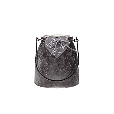 "V-More Rustic Gray Frosted Glass Vase Glass Lantern with Metal Handle Wooden Heart and Bowknot Small Size 5.04-inch Tall for Home Decor Party and Celebration (Set of 2) - ❤ GOOD QUALITY: Made from durable clear glass. This ensures that they will last in tiptop condition for years to come. ★Decoration Only!★ ❤ RUSTIC STYLE: Gray frosted glass lantern with metal handle, wooden heart and bowknot decorated looks very rustic and vintage. ❤ MODERATE SIZE: This glass lantern measures 4.61""L x 4.61""W x 5.04""H to hold flowers and candles very well. 2 pieces each set. - vases, kitchen-dining-room-decor, kitchen-dining-room - 41TV3ZymRIL. SS400  -"