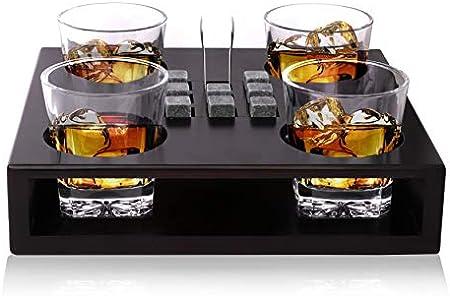 Bezrat Juego de vasos de whisky de estilo antiguo – Incluye 8 piedras para enfriar whisky y accesorios en bandeja de madera – 4 vasos de whisky – rocas de granito