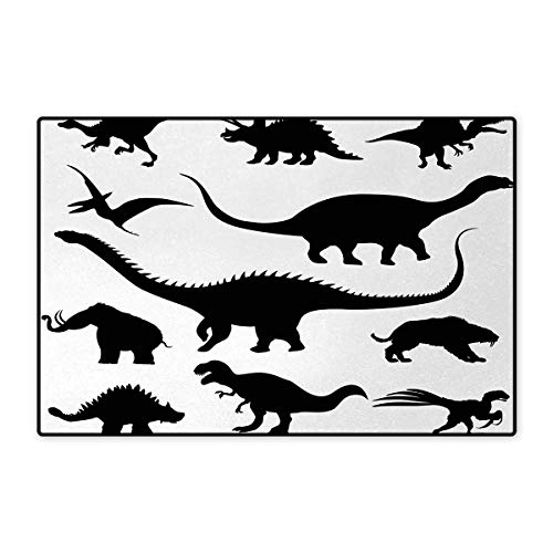 - Dinosaur,Bath Mat,Various Black Dino Silhouettes Jurassic Evolution Extinction Predator Animals,Door Mat Small Rug,Black White 24