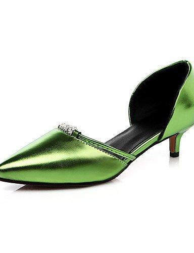GGX/ Damenschuhe mit flachem Absatz spitze Zehe / offene Spitze Fersen Partei&Abend / Kleid / casual grün / pink / rot / silber / gold green-us5.5 / eu36 / uk3.5 / cn35