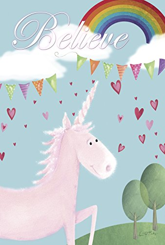 - Toland Home Garden Believe In Unicorns 28 x 40 Inch Decorative Cute Mythical Rainbow Heart Unicorn House Flag