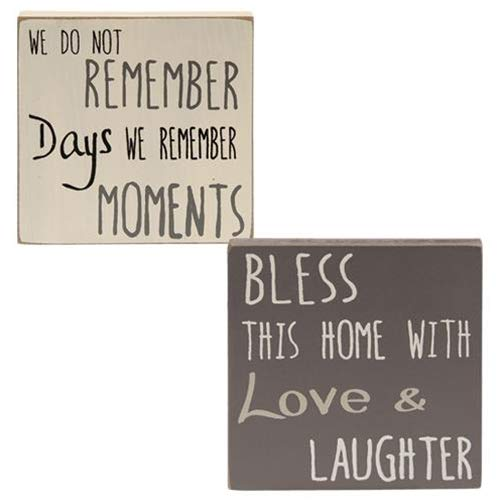 Hearthside Set of 2 Mini Wood Block Signs 'Remember Moments' & 'Bless This - Blocks Home Sign