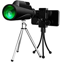 Velway 12x50 High Power Prism Waterproof Wide Clear View Monoculars with Multi Coated Objective Lens and Quick Smartphone Holder for Outdoor Bird Watching Hunting Camping Sightseeing Concerts Sports