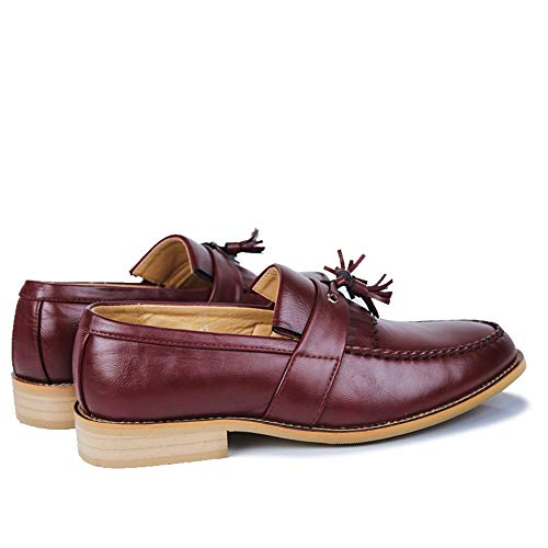 Con Casual Scarpe Classiche Vino Colorate Formali Uomo Low top Frange Shennanji Da Comode Fashion dgvAXvqx