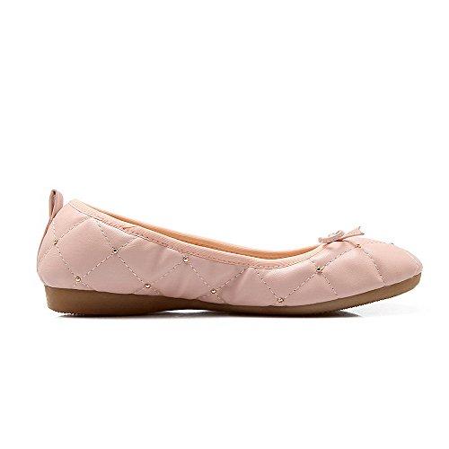 Rosa Luccichio Flats Ballet Donna Basso Puro Punta Tirare VogueZone009 Tacco Tonda vpqwIvU