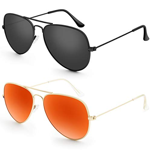 (Livhò G Sunglasses for Men Women Aviator Polarized Metal Mirror UV 400 Lens Protection (Black Grey+Golden Red) )