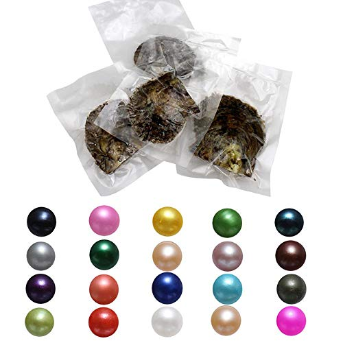 Real Akoya Cultured Pearls,Oysters with Pearl Inside Pearl Kit Wholesale Wish and Lucky Mixed Colors Round Pearl Total 50Pcs (7-8mm) -