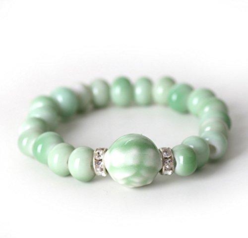 Winter's Secret Traditional Handmade Creative Couples Ceramic Beaded Bracelet Green