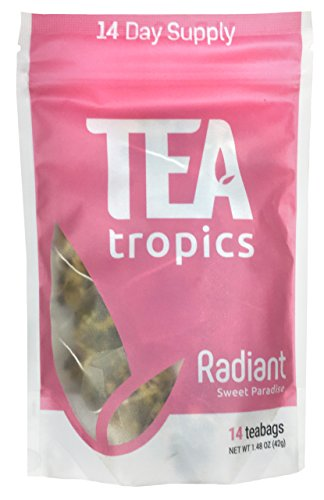 Cheap Tea Tropics 14 Day Radiant Tea | Promotes Healthy Hair, Skin, Nails | Anti Aging Formula for Acne & Wrinkles | Natural Supplement | 14 Biodegradable Pyramid Tea Bags
