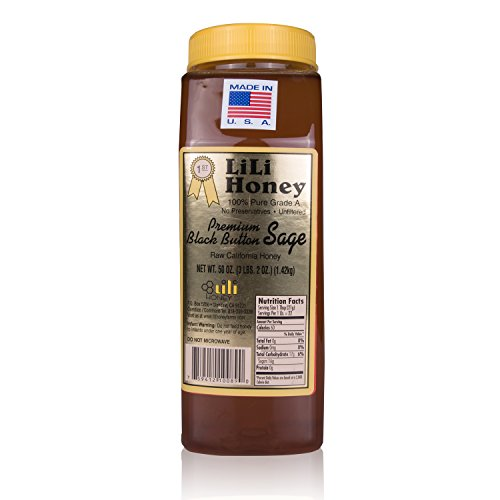 California Raw Premium Black Button Sage Honey 50 Ounces / 3 1/8 Lb / 1.42kg Pure 100% Natural Grade A Gift Wrapped