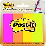 Post-it Marcadores de página, cores sortidas, 2,54 cm x 7,62 cm, 50 folhas/bloco, 4 blocos/pacote (671-4AF)