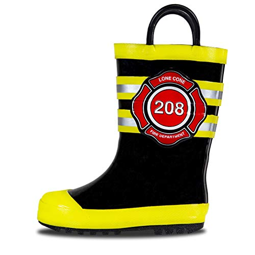 LONECONE Rain Boots with Easy-On Handles in Fun Patterns for Toddlers and Kids, Fire Chief, 2 Little Kid ()