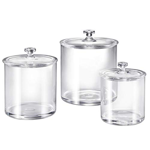 Premium Quality Clear Plastic Apothecary Jars | Set of 3 ()