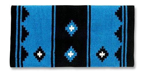 Mayatex Apache Saddle Blanket, Turquoise/Black/Cream, 36 x 34-Inch ()