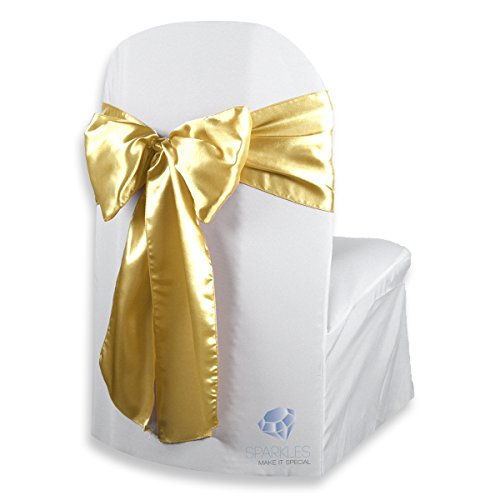 Sparkles Make It Special 200 pcs Satin Chair Cover Bow Sash - Gold - Wedding Party Banquet Reception - 28 Colors Available for $<!--$117.99-->