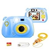Kids Camera, Rechargeable Kids Digital Cameras Cute Child Camera with Video Action Camcorder Christmas New Year Birthday Festival Toy Gift for Children Boys Girls (Blue)
