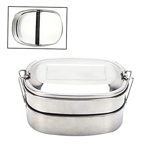 8a81762e63cc Amazon.com: Mikash Stainless Steel Double Layer Bento Lunch Box ...