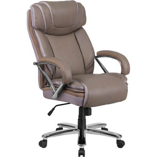 Parkside Series 500 lb. Capacity Big and Tall Taupe Leather Executive Swivel Office Chair with Extra Wide Seat by Parkside
