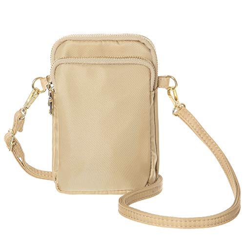 MINICAT Nylon Small Crossbody Bags Cell Phone Purse Smartphone Wallet For Women (Khaki) ()
