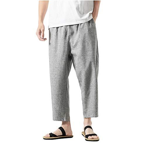 Mens Casual Elastic Waist Capri Wide Leg Baggy Harem Pants Drawstring Beach Pant Summer Cotton Linen Yoga Nine Pants - Cotton Rug Capri