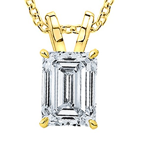 1/2 Carat GIA Certified 14K Yellow Gold Solitaire Emerald Cut Diamond Pendant (0.5 Ct D-E Color, SI1-SI2 Clarity) w/ 18