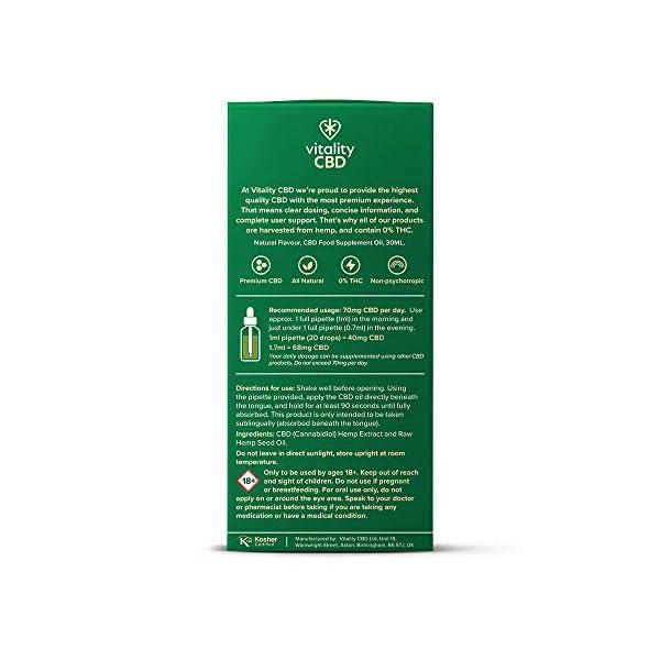 Vitality CBD Natural Oral Drops in Hemp Seed Oil, 1200mg, 30ml