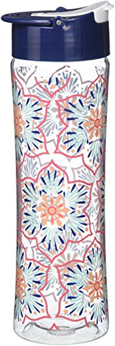 Fit & Fresh Reusable Water Bottle for Adults and Kids, made of BPA-Free Tritan Plastic with Leakproof Flip-up Cap and Carry Handle, 20 ounces, Coral Star Blooms