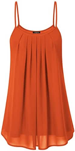 Laksmi Women's Summer Cool Casual Sleeveless Pleated Chiffon Layered Cami Tank Top
