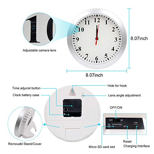 AMCSXH HD 1080P WiFi Hidden Camera Wall Clock Spy Camera with Motion Detection, Security for Home and Office, Nanny Cam/Pet Cam/Wall Clock Cam, Remote-Real Time Video, Support iOS/Android, Video only by AMCSXH (Image #6)