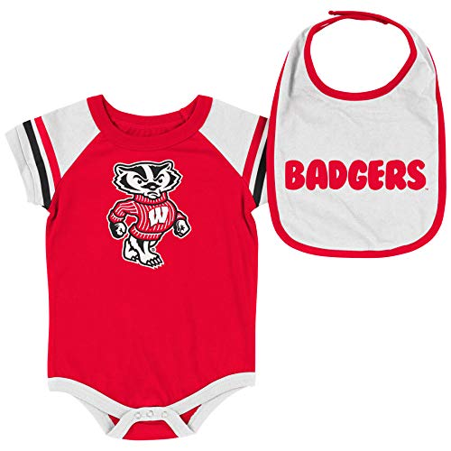 Colosseum NCAA Baby Short Sleeve Bodysuit and Bib 2-Pack-Newborn and Infant Sizes-Wisconsin Badgers-3-6 Months